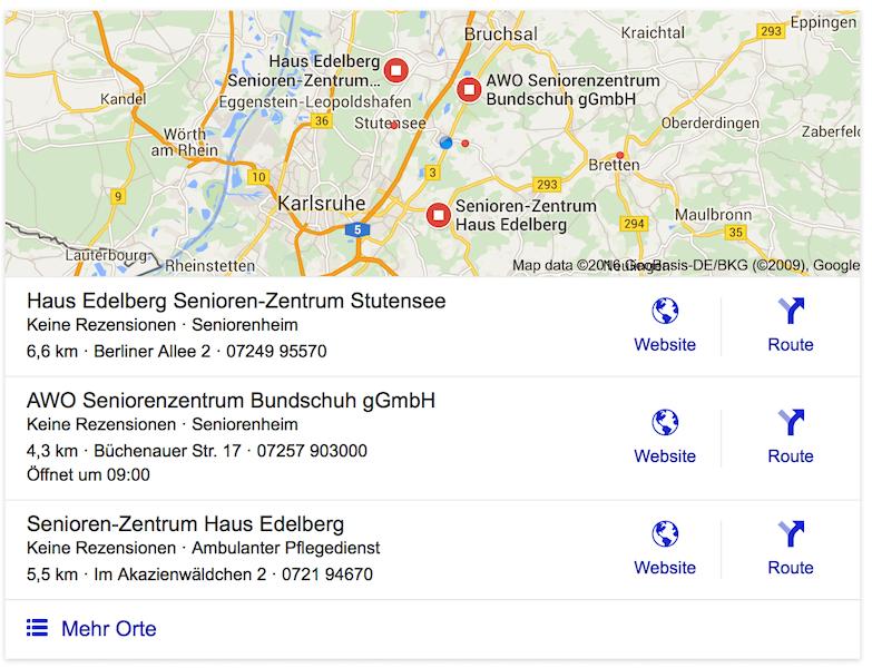 Beispiel Google Suche Seniorenheim - regionaler Kartenauschnitt