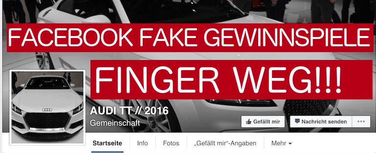 Facebook Fake-Gewinnspiele - Facebook Seiten mit gefakten Gewinnspielen - Audi BMW Mercedes VW